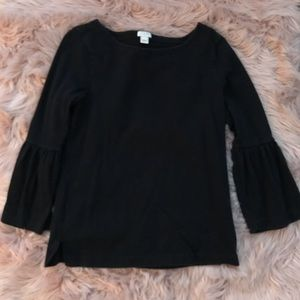 Jcrew black bell sleeve top